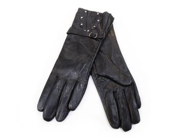 Woman black leather gloves F435