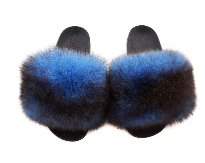 Fashion Fox Fur Slides, Fur Slides F956