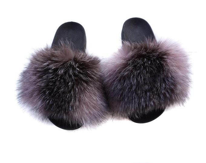 Fashion Fox Fur Slides, Fur Slides F946