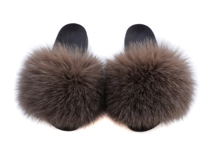 Fashion Fox Fur Slides, Fur Slides F951