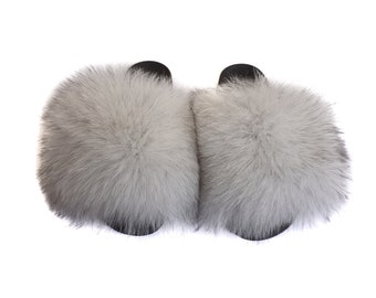 Fashion Fox Fur Slides, Fur Slides F927