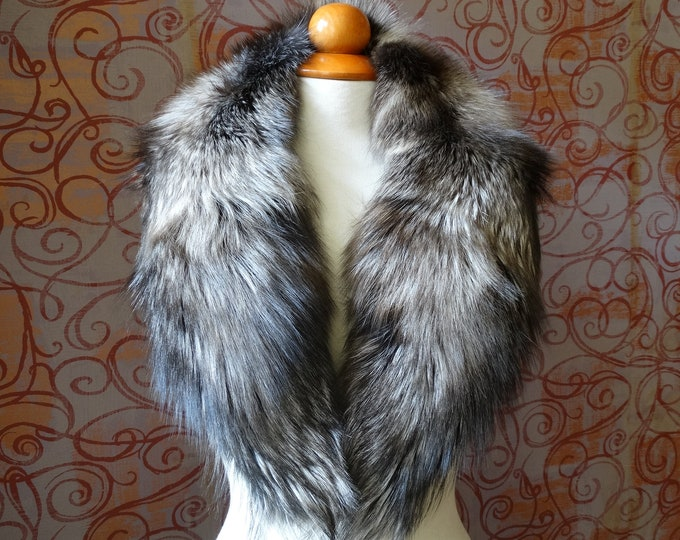 Large SilverBrown Fox Fur Collar F907