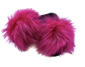 Fashion Fox Fur Slides, Fur Slides