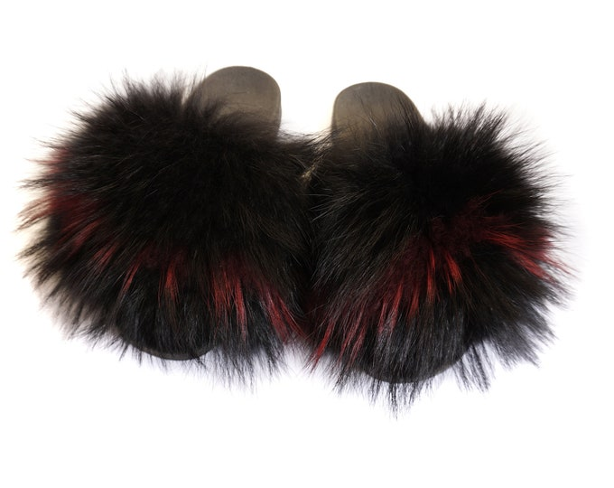 Fashion Fox Fur Slides, Fur Slides F931