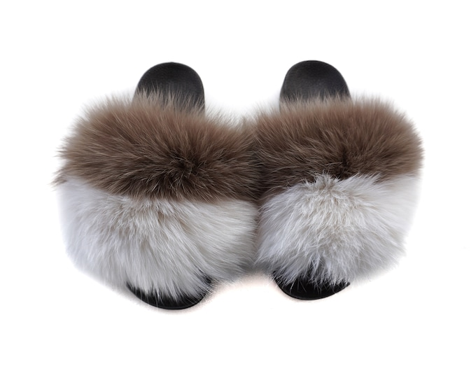 Fashion Fox Fur Slides, Fur Slides F964