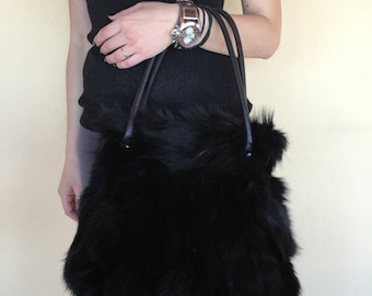 Real black fox fur tote bag F232