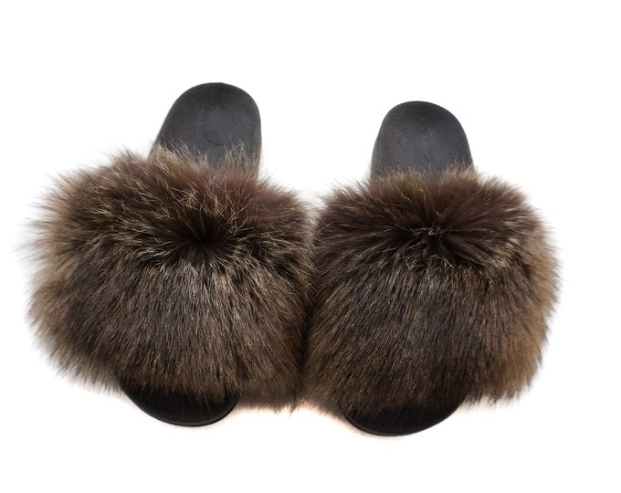Fashion Fox Fur Slides, Fur Slides F954