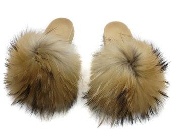 Fashion Fox Fur Slides, Fur Slides F933