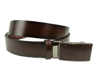 Men's leather belt with mechanical lock in brown