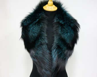 Fur Collar Gift For Her   Natural Fur Fox Accessories   Green Fur Collar