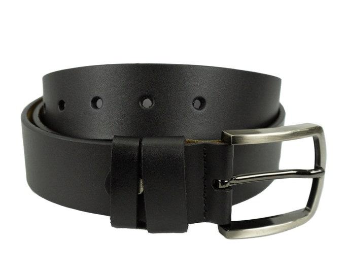 Men's leather belt in Black classic design