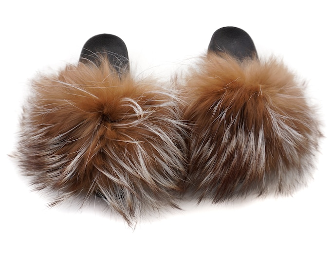 Fashion Fox Fur Slides, Fur Slides F958