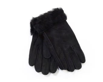 Black warm mouton fur gloves F443