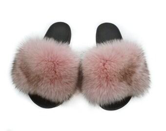 Fashion Fox Fur Slides, Fur Slides F883