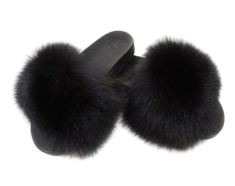 Fox Fur Slides, Fur Slippers F801
