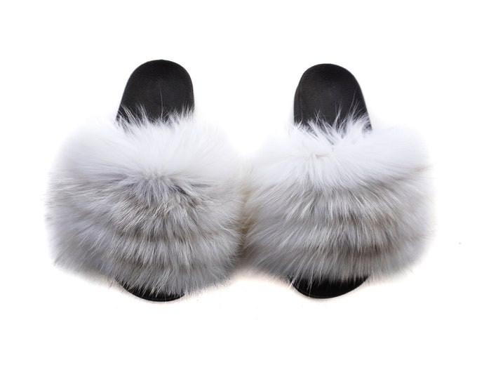 Fashion Fox Fur Slides, Fur Slides F965
