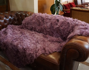 Purple Lamb Fur Blanket, Fur Throws F1018