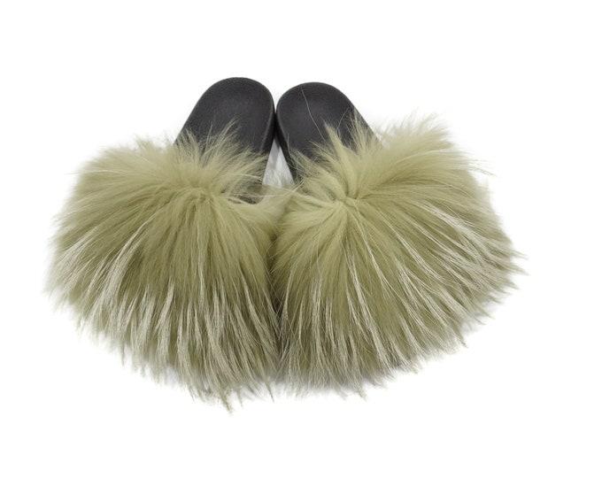 Fashion Fox Fur Slides, Fur Slides F935