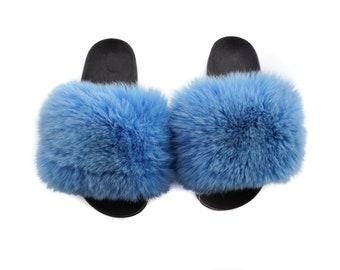 Fashion Fox Fur Slides, Fur Slides F967