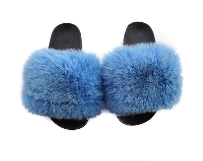 Fashion Fox Fur Slides, Fur Slides F967