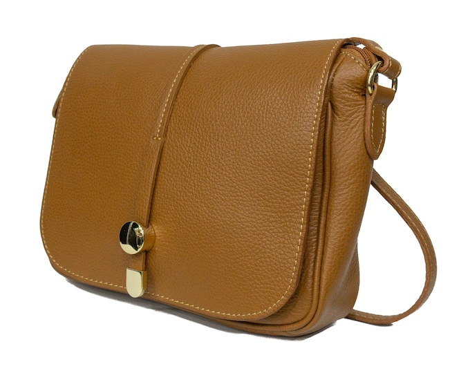 Genuine Leather Bag, Brown Leather Bag With Gold Details