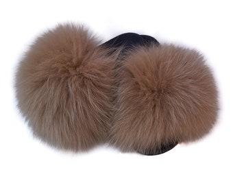 Fur slides, Fox Fur Slippers