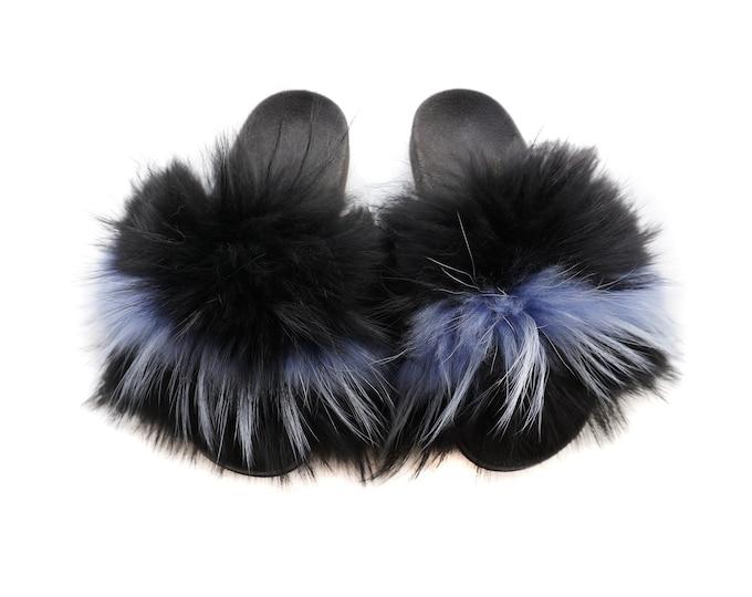 Fashion Fox Fur Slides, Fur Slides F939