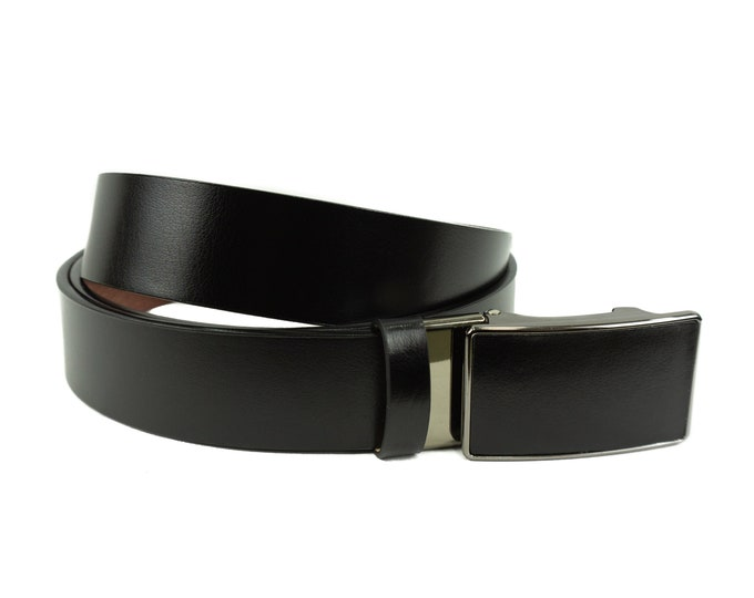 Men's leather belt with mechanical lock in black