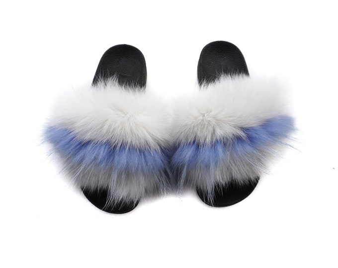Fashion Fox Fur Slides, Fur Slides F962