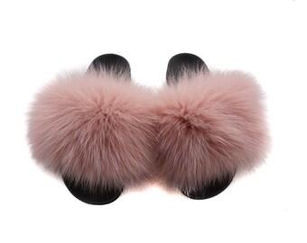 Fashion Fox Fur Slides, Fur Slides F937
