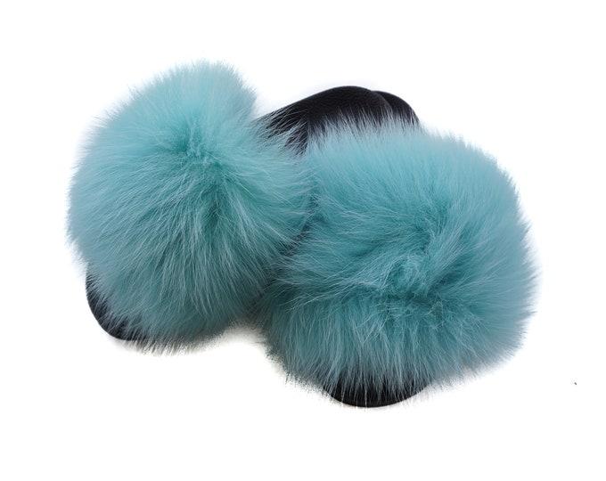 Fashion Fox Fur Slides, Fur Slides F1011