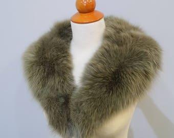 Unique Olive Fox Fur Collar F673