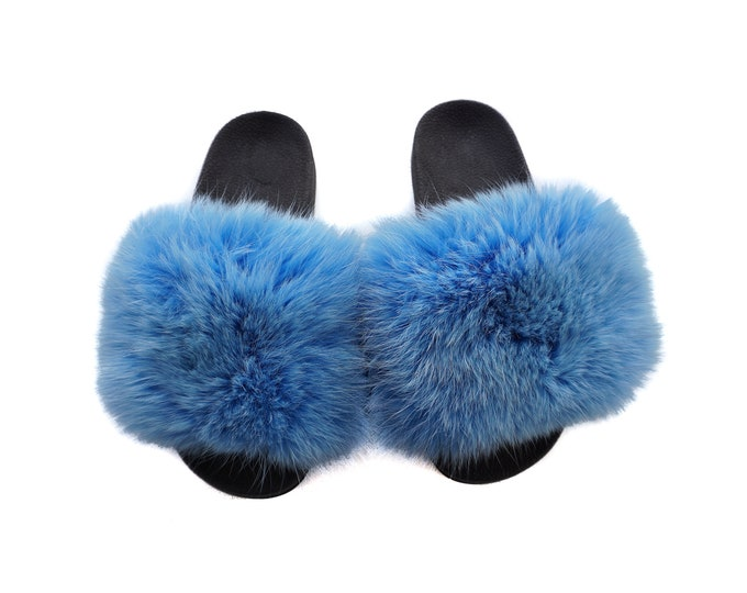 Fashion Fox Fur Slides, Fur Slides F941