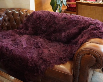 Purple Lamb Fur Blanket, Fur Throws F1017