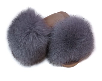 Fur slides, Fox Fur Slippers, Mother's day gift, Handmade Slippers, Fur Slippers, Warm Slippers,Real Fur Slippers,Gift for Her F1039