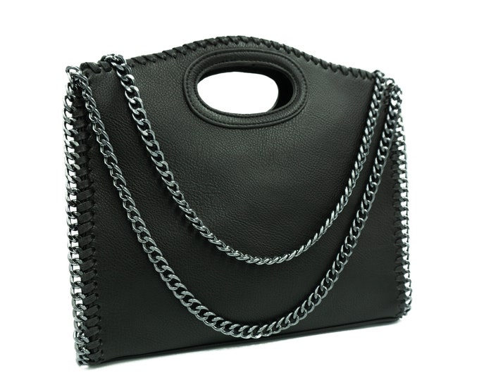 Faux Leather Tote bag gift for her | Faux Leather Handbag with Zipper