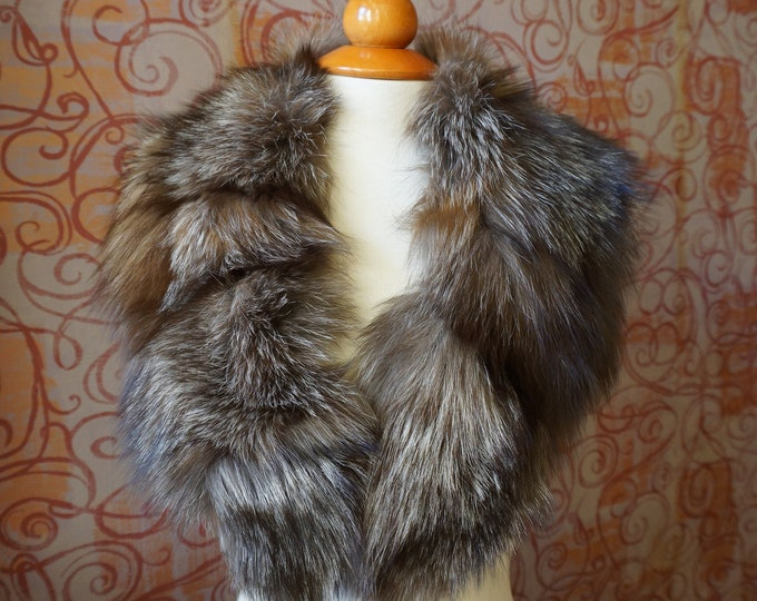 Large SilverBrown Fox Fur Collar F916