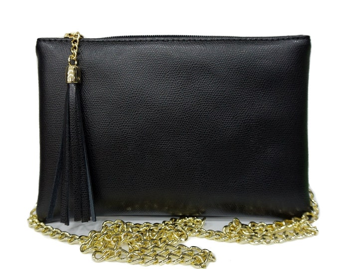Genuine Leather Bag / Wallet, with gold chains F1068