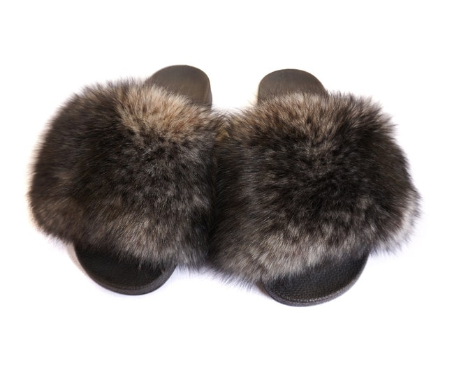 Fashion Fox Fur Slides, Fur Slides F932