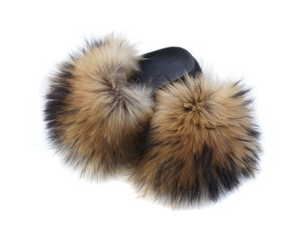 Fur Slides, Fluffy Sandals, Luxury Fur Shoes For Gift