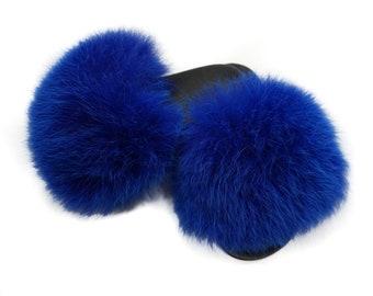 Fashion Fox Fur Slides, Fur Slides F895