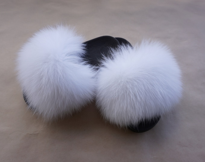 Fashion Fox Fur Slides, Fur Slides F989