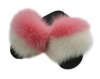 Fashion Fox Fur Slides, Fur Slides F892