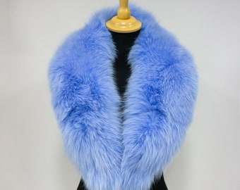 Fur Collar Gift For Her   Natural Fur Fox Accessories   Blue Fur Collar