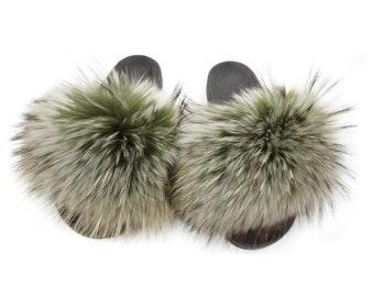 Fashion Fox Fur Slides, Fur Slides F882