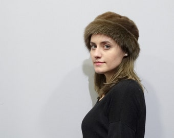 Brown classic Mink and Fox Fur Hat F341