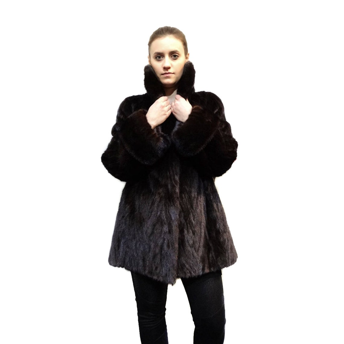 Mink Jacket With Big Collar Full Skin And Cuffs F164