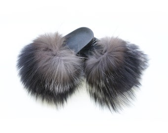 Silver Fox Fur Slides, Fur Slippers F851