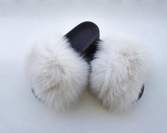 Beige Fur Slippers, Glamorous Fur Slides F852