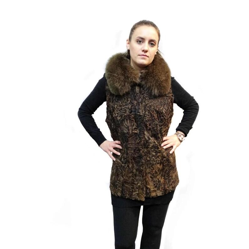 finest selection 872de d9315 Vera pelliccia Astrakan-Karakul con collo di volpe, lungo gilet di  pelliccia, gilet di Karakul, giubbotto donna marrone, giacca senza maniche  di ...